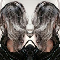 Ash brown with silver hair style