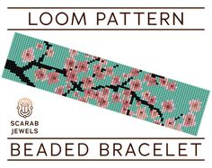 Beaded bracelet pattern featuring Japanese Cherry Blossom motif on turquoise background.  Pattern has been designed for loom beadweaving, however it can also be used for square stitch. Recommended are Miyuki Delica cylindrical beads size 11 due to their quality, and they have been carefully selected from the full collection considering both their shade and finish, to achieve the desired effect.  Whether you like to start your bracelet from the first row or from the centre, row indicators on…