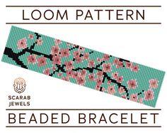 Cherry Blossom Pattern  Loom Beading Bracelet  Cuff Bead