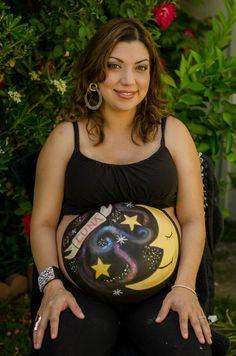 #moonandstars #moon #stars Belly painting  featuring Jenny Bernal