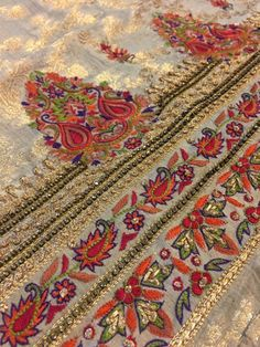 Wedding wear on a budget - an insider's guide to fabrics and craftsmanship in Karachi's Bazaars - Karachista Zardozi Embroidery, Embroidery On Kurtis, Hand Embroidery Dress, Kurti Embroidery Design, Tambour Embroidery, Embroidery Works, Embroidery Fashion, Hand Embroidery Designs, Kids Dress Patterns