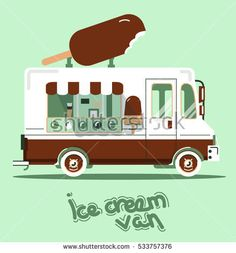 Cool vector flat van illustration. Retro vintage cute food  car picture, ice cream truck Food Vans, Ice Cream Van, Flat Design Illustration, 3d Projects, Cute Food, Car Pictures, Retro Vintage, Trucks, Robotics