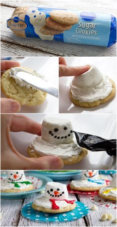 Melting Snowman Cookies #pillsbury. Also check out my shop for more ideas. www.partiesandfun.etsy.com