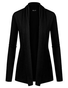 Women's Cardigans - Because I Love You Women Open Front Long Sleeve Collar Classic Knit Cardigan >>> Details can be found by clicking on the image.