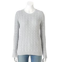 Women's Croft & Barrow® Cable-Knit Crewneck Sweater, Size: