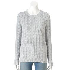 Women's Croft & Barrow® Cable-Knit Crewneck Sweater, Size: