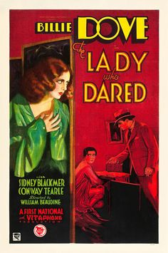 This ravishing, blood-red Lady Who Dared poster has not been seen for decades.  1931.
