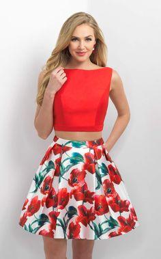 12/5/16  Brand/Designer: Blush Print: Floral Print Occasion: Evening Homecoming Party Dress Prom Dress Dress Length: Cocktail Dress Silhouette: Two-Piece Shoulder: Sleeveless Neckline: High Neck Embellishments: Jeweled Slit