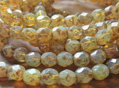 Czech Glass Fire Polish Beads Opal Picasso 6mm by gypsybeadpeddler