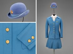 "Dubbed ""The Uniform for the Superjet Era,"" and created for the new wide-body jet service, this uniform marked a new direction in Pan Am's approach to fashion. It was created by Frank Smith to be ""a functional and fashionable wardrobe that could be worn in all seasons."" It has a modified jacket and a flared camisole skirt in polyester with the airline's first above-the-knee hemline, and a cotton blouse with neckpiece. Topping off the dramatic new look is the bowler derby and reversible cape."
