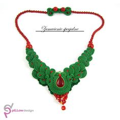 Soutache necklace with jade stones, carnelian and coral :) Special customer order.