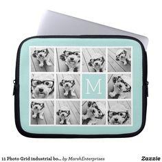 Light Aqua Modern Photo Collage and Monogram Laptop Sleeve #ad #laptopsleeves