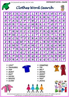 Word Search Clothes (Hard Version) Weather Word Search, Kids Word Search, Word Search Puzzles, Word Puzzles, Mickey Coloring Pages, Coloring Pages To Print, Free Printable Coloring Pages, Colouring Pages, Coloring For Kids