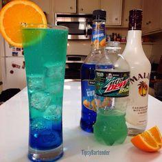 BAJA BLAST COOLER  Ingredients 1/2 oz. (15ml) Orange Vodka -1/2 oz. (15ml) Blue Curaçao  -1/2 oz. (15 ml) Peach Schnapps -1/2 oz. (15ml) Coconut Rum -Topped with Baja Blast Mountain Dew -Orange Slice  Absolutely delicious found this golden drink recipe from the tipsy bartender!