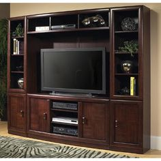 4 Piece Oak Furniture Entertainment Center – Escapade – Wall unit – Anime pictures to hairstyles Tv Stand And Entertainment Center, Entertainment Wall Units, Entertainment Furniture, Tv Cabinet Design, Living Room Tv Unit, Living Rooms, Hemnes, Entertaining, Ikea