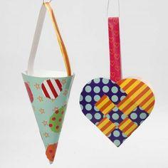 Nemt juleklip for børn. Flettet julehjerte og kræmmerhus af glanspapir.