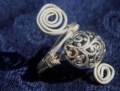 Hammered Wire Wrapped Celtic Bead Ring by RedBoatStudio on Etsy, $22.00
