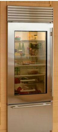 Ge monogram 39 s new line of 30 refrigerators w glass front for Kitchen cabinet depth options