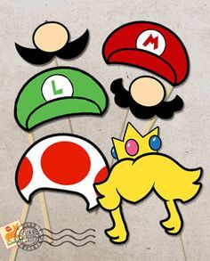 Photo booth props!! #nintendo #supermariobros #mario #birthdayparty #kidsparty #birthdayideas   xtremegameexperience.com