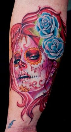Sugar Skull Tattoos for Halloween.halloween skull tattoo for fashion girls #tattoo #design #girls www.loveitsomuch.com