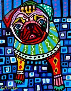 Pug Art Gift PRINT Dog Poster Pop Art Modern Abstract Folk Art HEATHER GALLER