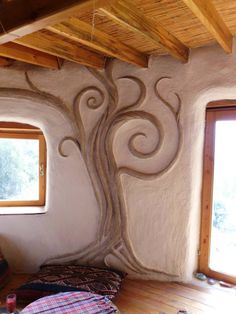 Simple sculpture in a cob home. Cob Building, Portland Cement, Unusual Homes, Hobby Farms, Sustainable Living, Decoration, Tiny House, Cob Houses, Floor Plans
