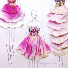 flower petals > fashion illustration