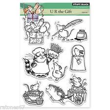 New Penny Black U R THE GIFT Clear Stamp Birthday Present Kitty Hedgie Critters