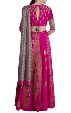 Shop Masaba Hot pink & olive green silk embellished lehenga with blouse & dupatta , Exclusive Indian Designer Latest Collections Available at Aza Fashions Indian Dresses, Indian Outfits, Ethnic Outfits, Indian Designer Outfits, Designer Dresses, Chanya Choli, Bridal Blouse Designs, Dress Designs, Lehenga Designs