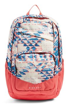 Definitely needing this trendy backpack with a vibrant print and coral details. This comfortable backpack will be perfect for carrying books and pencils.