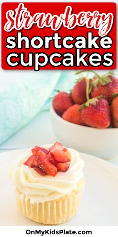 These easy Strawberry Shortcake Cupcakes from scratch start with a vanilla shortcake cupcake. Add a cream cheese frosting and fresh strawberries for a delicious treat. These make a gorgeous summer dessert, perfect for a birthday or wedding shower dessert and are completely homemade (no cake mix or box mix!). #strawberry #cupcake #dessert #recipe #shortcake #summer #easy Frozen Strawberry Recipes, Strawberry Shortcake Cupcake, Frozen Strawberries, Moist Vanilla Cupcakes, Yummy Cupcakes, Vanilla Cream Cheese Frosting, Shortcake Recipe, Summer Desserts, Yummy Treats