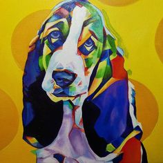 Pop Art Pet Portrait Bassett Hound Puppy 12in x 12in x 1.375in  Mostly done maybe just another quick coat of highlights and this will be up for sale as well as prints and products will be available soon.  #nyc #newyork #newyorkcity #manhatten #eastharlem #ilovenyc #contemporaryart #modernart #photooftheday #igersofnyc #newyorkart  #newyorkartist #nyart #popart #petportrait #petpainting #dogpainting #abstractart #commissionedartist #instadog #dogsofinstagram #dog  #puppysofig #puppypainting…