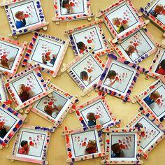 Fotolijstje van ijslollystokjes, getamponeerd met een wattenstokje