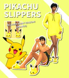 "lucasgotsims:  "" PIKACHU SLIPPERS • Simple EA mesh edit.  • Base game compatible.  • 2 Swatches. (Yellow/Orange)  This is my first CC. I want to make more, any suggestions or tips are welcome!  T.O.U • Don't reupload without consent.  • You can do whatever..."