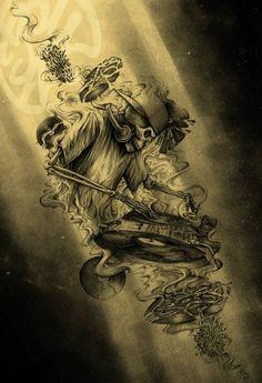 Skeleton DJ Tattoo Design