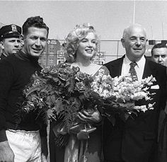 Marilyn Monroe - May 12, 1957 - performing the ceremonial kick-off at Brooklyn Dodgers' Ebbets Field for the All Star soccer match between the USA national team and Israeli club Hapoel Tel Aviv
