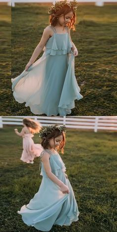 A-Line Spaghetti Straps Chiffon Long Flower Girl Dresses With Cheap Flower Girl Dresses, Dresses Kids Girl, Girl Outfits, Baby Dresses, Inexpensive Wedding Dresses, Affordable Bridesmaid Dresses, Boho Flower Girl, Kids Blouse Designs, Kids Dress Wear