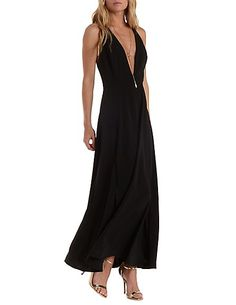 Strappy Deep V Maxi Dress: Charlotte Russe