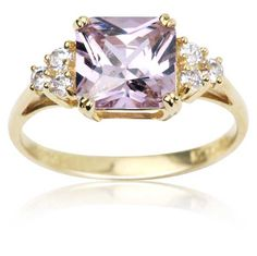 10k Yellow Gold and Square-Cut