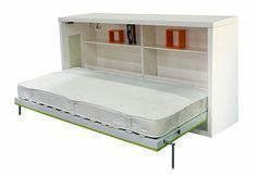 Sideways Murphy bed - see the different models here: http://www.murphybedhq.com/murphy-bed-models/ #murphybed #murphybedmodels #wallbed