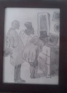 """Made in school looooong time ago. If I remember correct this drawing was a copy of Da Vincic's drawing called """"old men"""", but not sure anymore. This drawing by Kaisa Minkkinen"""