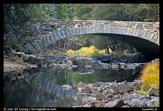 Bridge over the Merced River. Yosemite National Park, California, USA.