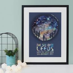 A beautiful personalised constellation print featuring an accurate star map and the sillhouettes of a couple sat on a bench. The accurate star chart includes thousands of stars, planets, and constell. Personalised Family Print, Deer Silhouette, Wolf Design, Star Chart, Watercolor Effects, Baby Prints, Star Print, New Baby Products, Map