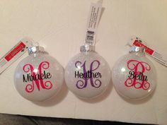 Vinyl monograms on plastic ornaments with glitter. Personalized ornaments are great for gifting and making memories. Vinyl Ornaments, Homemade Ornaments, Glitter Ornaments, Personalized Christmas Ornaments, Ornament Crafts, Christmas Baubles, Diy Christmas Ornaments, Christmas Projects, Holiday Crafts