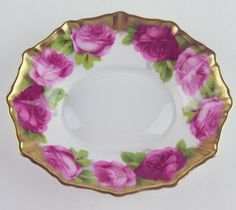 Oval Fluted Candy Dish Royal Albert China Old English Rose Heavy Gilt REDUCED | eBay