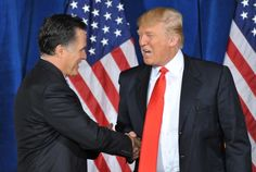 Businessman Donald Trump (R) shakes hands with Republican presidential hopeful Mitt Romney after announcing his endorsement of Romney at Trump International  Hotel & Tower on February 2, 2012 in Las Vegas, Nevada ahead of the February 4 Nevada caucus. AFP PHOTO/Stan HONDA (Photo credit should read STAN HONDA/AFP/Getty Images)