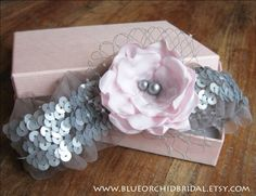 Wedding Garter Set Bridal Garter Pink & Grey Sequins Rose Flower $39