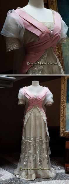 Evening dress, Callot Soeurs, ca. Pink cream silk with embroidered metallic net overlay and train. Edwardian Gowns, Edwardian Clothing, Antique Clothing, 1900s Fashion, Edwardian Fashion, Vintage Fashion, Belle Epoque, Vintage Outfits, Vintage Gowns