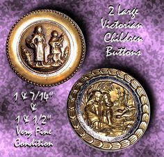 Two Late 19th C. Large Brass Buttons with Children ~ R C Larner Buttons at eBay & Etsy        http://stores.ebay.com/RC-LARNER-BUTTONS
