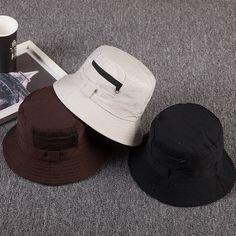 Cotton zipper Bucket Hat Fisherman Hat outdoor travel hat Sun Cap Hats for  Men  fashion 8adee9807